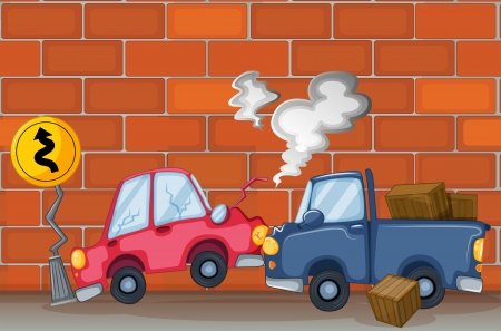 crashing: Illustration of a car accident near the wall Illustration