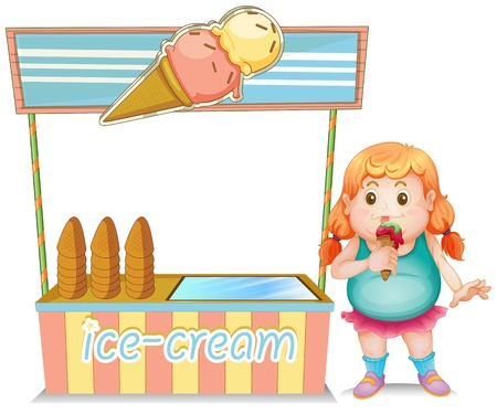 Illustration of a fat girl eating an ice cream beside the ice cream stand on a white background Illustration