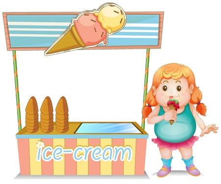 carretto gelati: Illustrazione di una ragazza grassa che mangia un gelato accanto al gelato in piedi su uno sfondo bianco