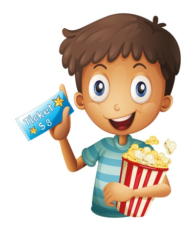 theater popcorn: Illustration of a holding a ticket and a popcorn on a white background