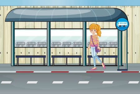 Illustration of a girl at the bus stop Vector