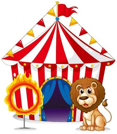fire ring: Ilustraci�n de un le�n y un anillo de fuego en el carnaval en un fondo blanco