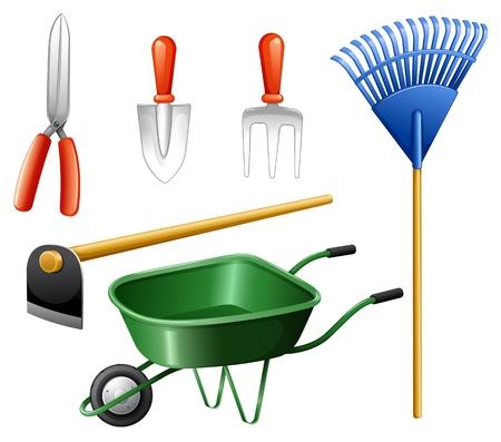 Ilustración de las herramientas de jardinería en un fondo blanco Ilustración de vector