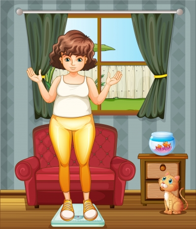 Illustration of a girl measuring her weight at the weighing scale Stock Illustratie