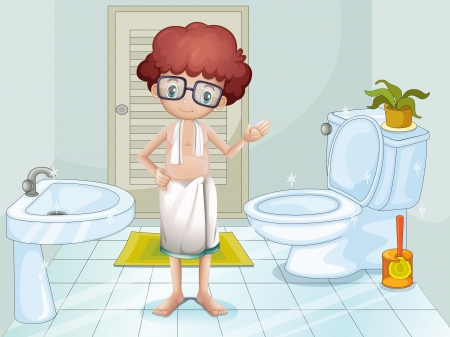 Illustration of a boy in the bathroom Vector