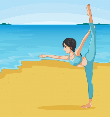 Illustration of a girl stretching at the beach Stock Vector - 20272687