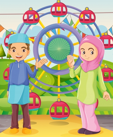 muslim girl: Illustration of a couple at the carnival Illustration