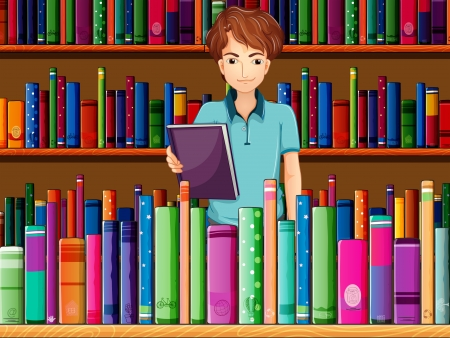 Illustration of a man holding a book in the library Vector