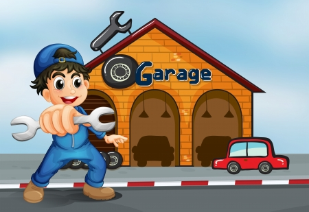 Illustration of a happy boy in front of a garage Vector