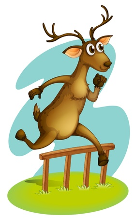 Illustration of a deer jumping on the fence on a white background Vector