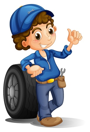 car fix: Illustration of a man with a wheel at his back on a white background Illustration