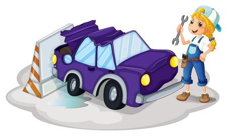 accident woman: Ilustraci�n de una mujer de arreglar el coche violeta sobre un fondo blanco