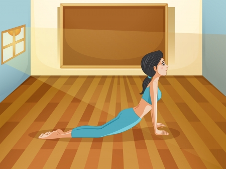 sides: Illustration of a lady performing yoga inside a room with an empty board