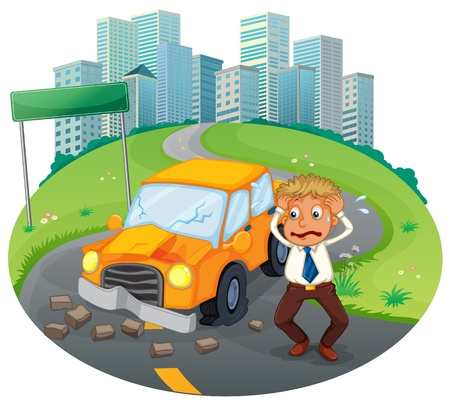 Illustration of a car accident at the road near the high buildings on a white background Vector
