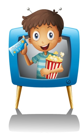 Illustration of a boy inside the TV with a popcorn and a ticket on a white background Stock Vector - 20272892
