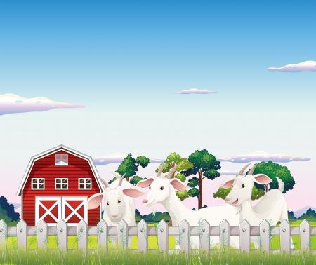 Illustratie van de drie geiten binnen de omheining op de boerderij Stock Illustratie