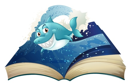 Illustration of a book with a smiling blue shark and waves on a white background Stock Vector - 20272856