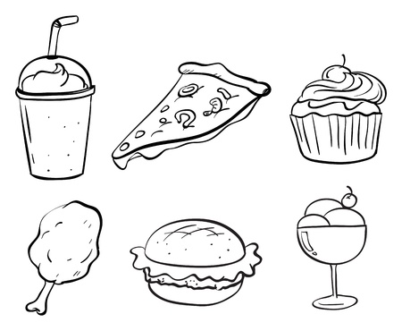 Illustration of the doodle designs of the different foods on a white background Stock Vector - 20270452
