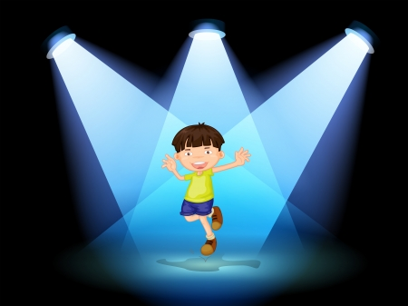 Illustration of a cute little boy dancing in the stage Illustration