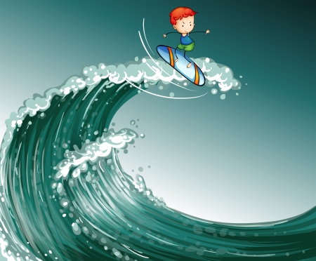 Illustration of a boy surfing with big waves Vector