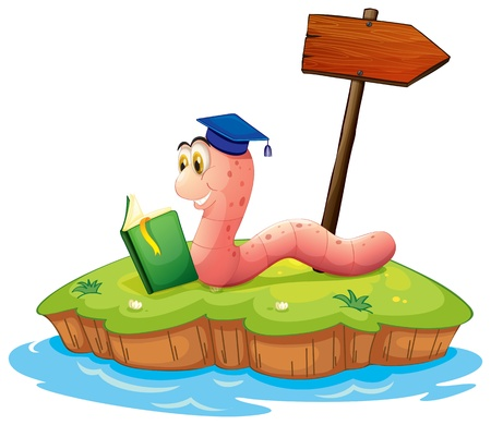 bookworm: Illustration of a worm reading a book on an island on a white background Illustration