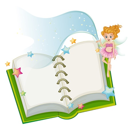 Illustration of an open book with stars and a fairy on a white background Stock Vector - 20272827