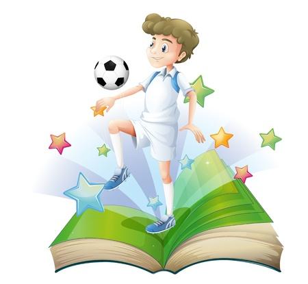 hombre flaco: Ilustración de un libro con un jugador de fútbol masculino sobre un fondo blanco