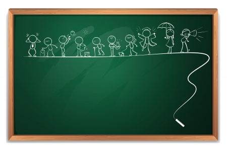 sides: Illustration of a chalkboard with a drawing of children on a white background