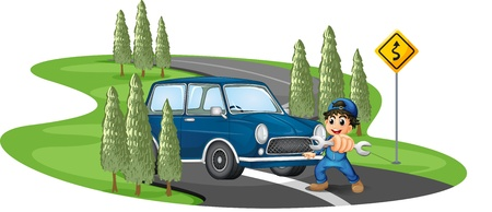 curve road: Illustration of a curve road with a boy and a car on a white background