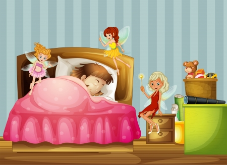 Illustration of a young girl sleeping with fairies inside her room Vector