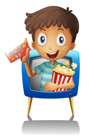 viewing angle: Illustration of a boy on the television holding a ticket and a popcorn on a white background Illustration