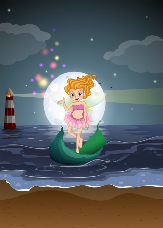 parola: Illustration of a fairy standing on a boat at the beach Illustration