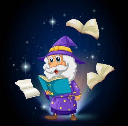 storyteller: Illustration of a wizard with many books