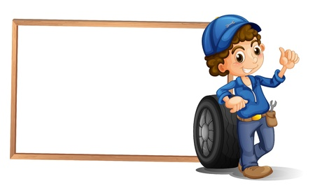 Illustration of a boy and a tire beside an empty frame on a white background  Illustration