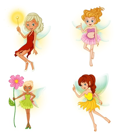 woman floating: Illustration of the four beautiful fairies on a white background