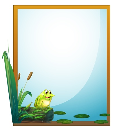 Illustration of a frame with a frog in the pond on a white background Vector