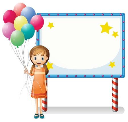balloon woman: Illustration of a girl with balloons standing in front of an empty board on a white background