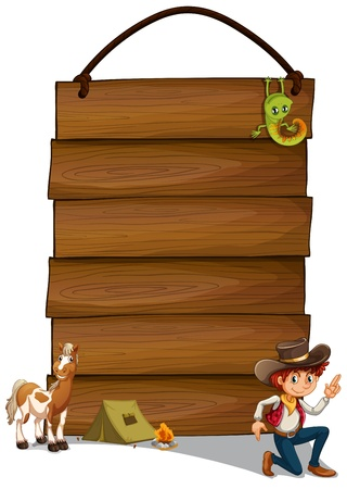 Illustration of a hanging empty signage with a cowboy and animals on a white background Vector