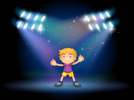 Illustration of a cute little boy dancing in the middle of the stage Vector