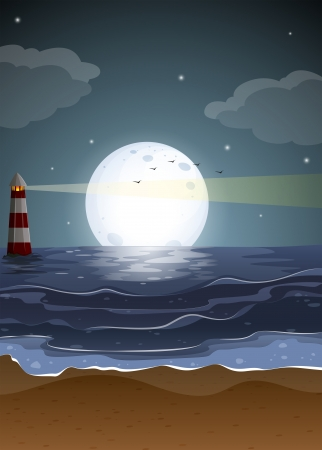 parola: Illustration of a beach with a lighthouse and a fullmoon Illustration