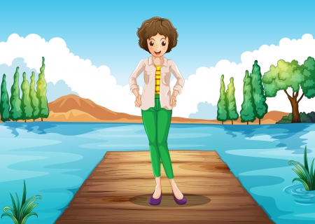 Illustration of a woman standing above the wooden bridge at the river Vector