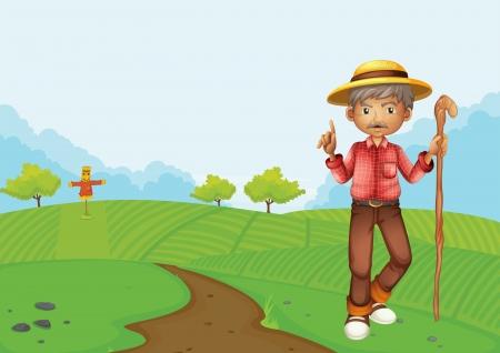 scarecrow: Ilustraci�n de un hombre viejo en la granja