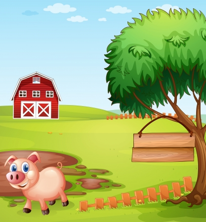 mud house: Illustration of a pig near the tree with a hanging empty signboard Illustration