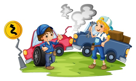 crashed: Illustration of a male and a female mechanic fixing the damaged cars on a white background Illustration
