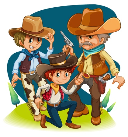 Illustration of the three cowboys in different positions on a white background  Vector