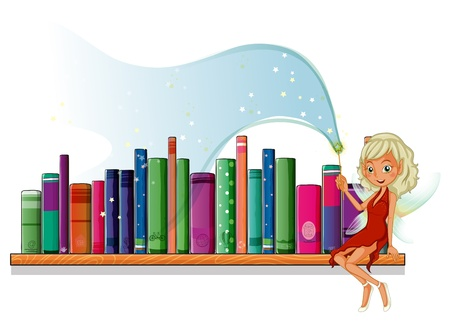 Illustration of a fairy in the library on a white background Stock Vector - 20272928