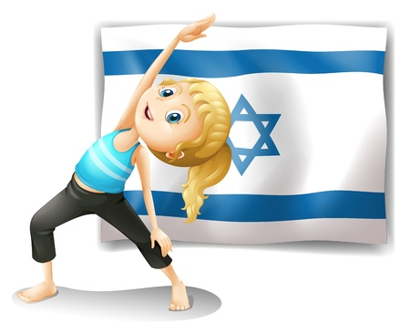 performing: Illustration of a girl performing yoga in front of the Israel flag on a white background  Illustration