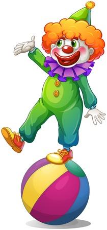 brincolin: Ilustración de un payaso de pie encima de la bola en un fondo blanco Vectores