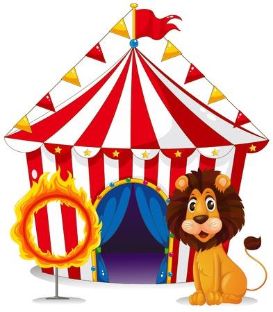 fire ring: Ilustraci�n de un le�n y un anillo de fuego en frente de la carpa de circo en un fondo whie