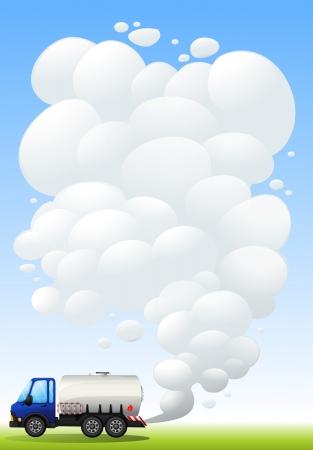 Illustration of a gasoline truck emitting smoke